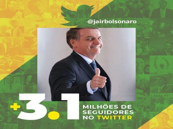 Bolsonaro atinge 3,1 milhões de seguidores do Twitter e agradece fãs nas redes