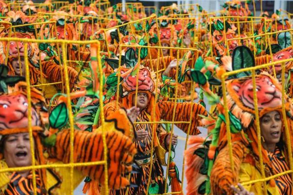 Águia de Ouro começa o desfile de carnaval no Sambódromo do Anhembi, neste sábado, 2