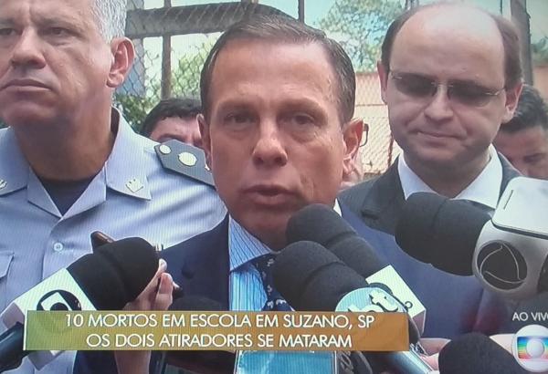 Governador Joao Doria esteve na escola que aconteceu a tragédia em SP