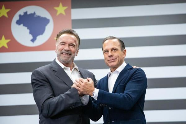 Arnold Schwarzenegger visita governador de São Paulo João Doria