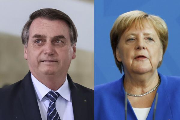 Bolsonaro e Merkel conversam sobre recursos para Amazônia