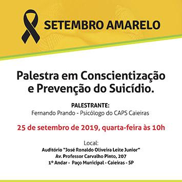Caieiras terá palestra de prevenção ao suicídio