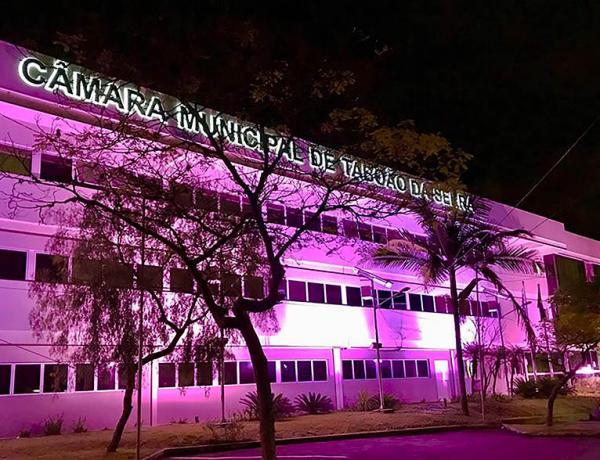 Prédio da Câmara está iluminado de rosa para conscientização sobre câncer de mama - Foto: Leandro Barreira