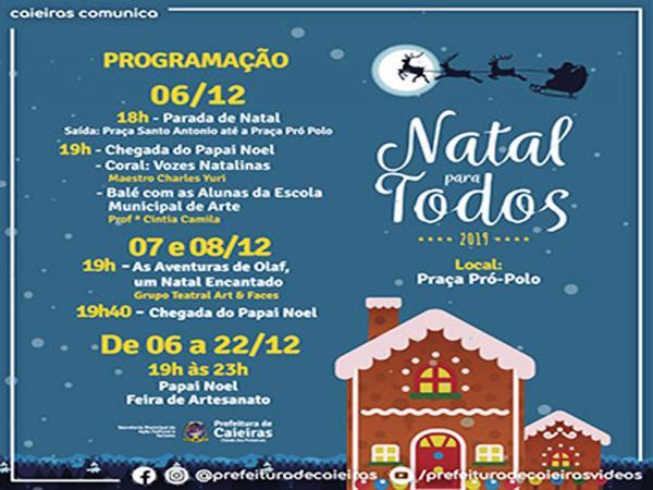 Eventos natalinos tem início no dia 6 de dezembro. Confira a programação!