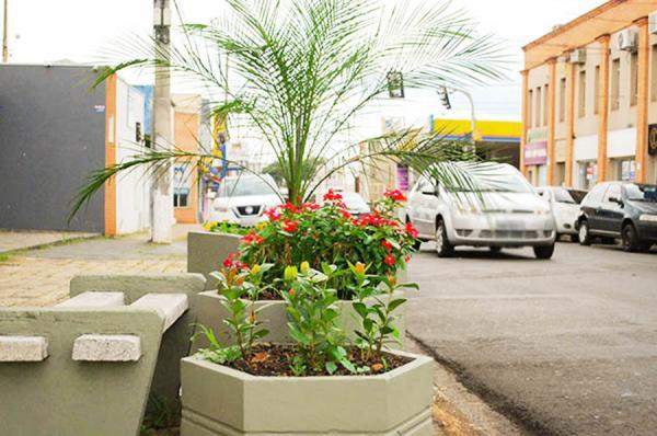 As floreiras foram recuperadas, pintadas e dispostas ao longo de toda a rua Chico de Paula - Foto: PMMG