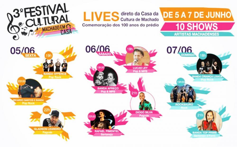 Machado MG : Festival Machado em Casa será realizado com 10 lives