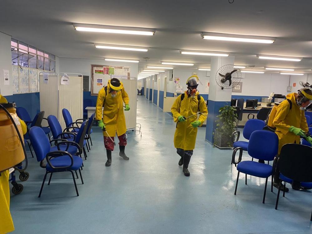 Secretaria de Manutenção de Taboão da Serra faz desinfecção em unidades de saúde