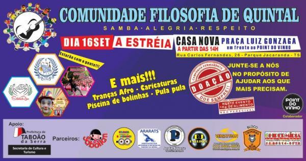 Acontece neste domingo, 16, a Roda de Samba Comunidade Filosofia de Quintal em Taboão da Serra
