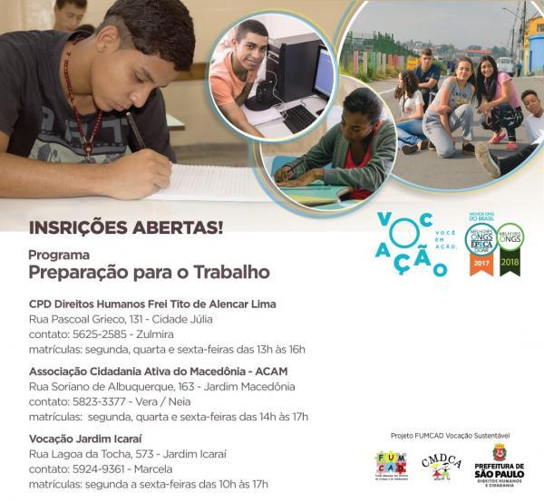 Inscrições abertas para programa de preparação para o trabalho no Jardim Macedônia, na cidade de São Paulo